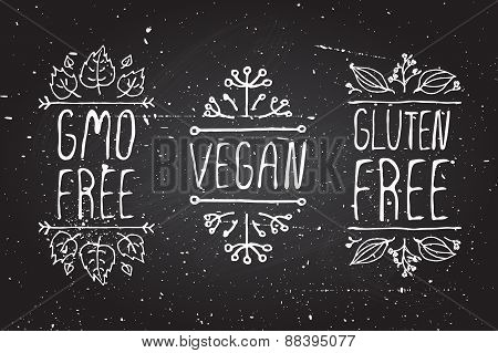 Hand-sketched typographic elements on chalkboard background. GMO free. Vegan. Gluten free. Suitable for ads, signboards, menu and web banner designs poster