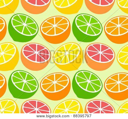 Seamless wallpaper pattern with citrus fruits. Vector illustration