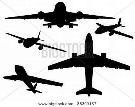 Aircrafts. Airbus silhouettes from different angles. Vector illustration. poster