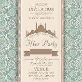 Islamic holy month of prayers Ramadan Kareem celebrations, Invitation card design for Iftar Party with mosque on seamless floral pattern background.  poster