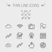 Business thin line icon set for web and mobile. Set includes- wifi, notepad, cloud arrows, antenna, money, gear icons. Modern minimalistic flat design. Vector dark grey icon on light grey background. poster