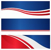 4th of july USA patriotic web header / banner collection on white background poster