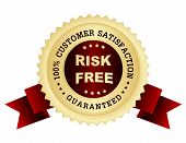 Risk free 100% customer satisfaction guarantee stamp / seal with red ribbons poster
