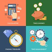 Set of flat design concept icons for business. Calculation Time is money Finding treasure and Time management. Vector Illustration. poster