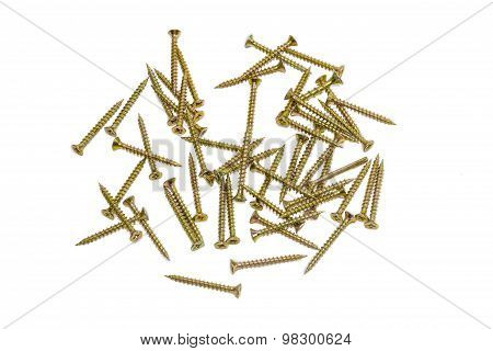 Several Wood Screws With Countersunk Head On Light Background