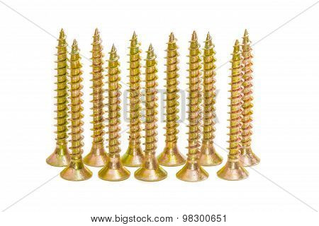 Several Wood Screws With Countersunk Head On Light Backgrounds