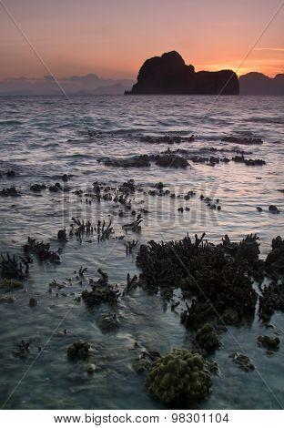 Sunste At Beach In Krabi Thailand