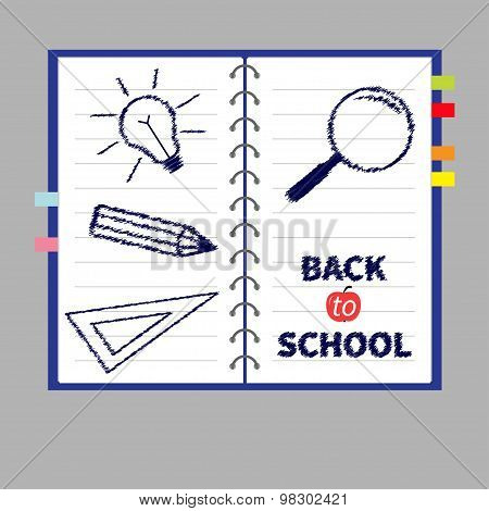 Notebook Spiral Blank Lined Paper And Bookmarks. Magnifer, Pencil, Light Bulb, Ruller. Back To Schoo