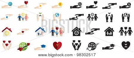 Various Type Of Silhouette And Colorful Charity And Donation Funding Sign And Symbol Icon Collection