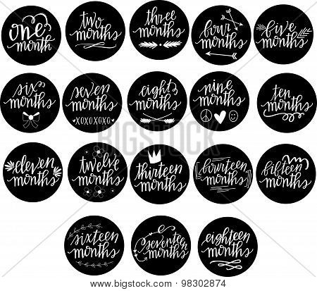 Eighteen month baby milestone markers with hand lettering and doodle accents poster