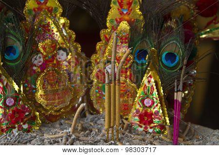 inscence sticks in a temple in Bangkok