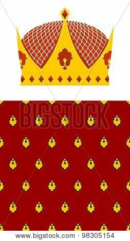 Set Crown And Mantle. Royal Crown. Jewelry Accessory Made Of Gold For The King. Seamless Pattern Roy