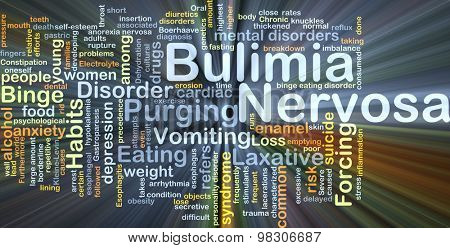 Background concept wordcloud illustration of bulimia nervosa glowing light