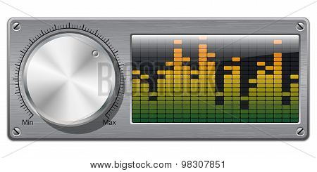 Vector volume knob with digital equalizer on white poster