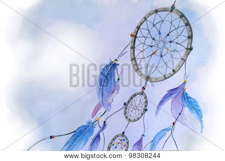 Watercolor dream catcher illustration