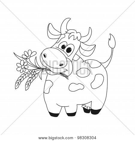 Outline Illustration Of Cute Cow With Flowers