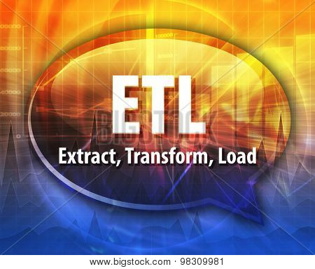 Speech bubble illustration of information technology acronym abbreviation term definition ETL Extract Transform Load