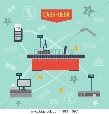 Cash desk. Cashier place. Cash machine. Cash register. Cash desk vector illustration. Cash register icon. Cash machine icon. Supermarket cash desk. Cash desk infographics. Flat design style. Store.