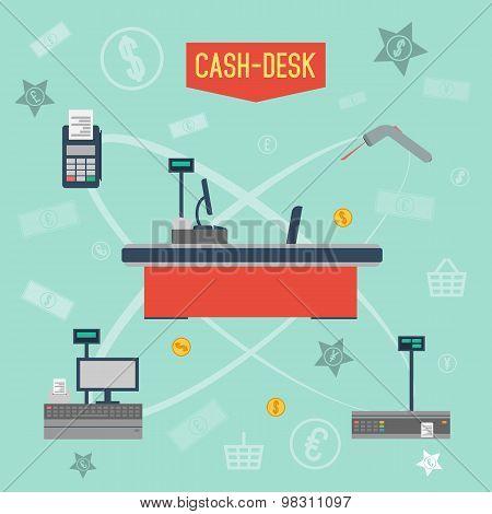 Cash desk. Cashier place. Cash machine. Cash register. Cash desk vector illustration. Cash register icon. Cash machine icon. Supermarket cash desk. Cash desk infographics. Flat design style. Store.