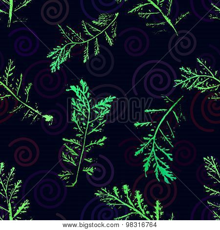 Seamless imprints pattern of the branched herbs. Grungy botanics stamp. poster
