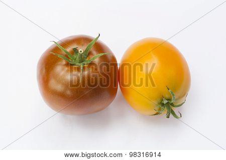 Tomato on the white isolatd background