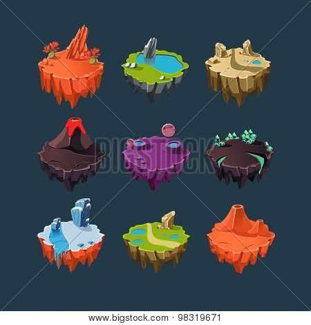 Isometric Islands elements for games