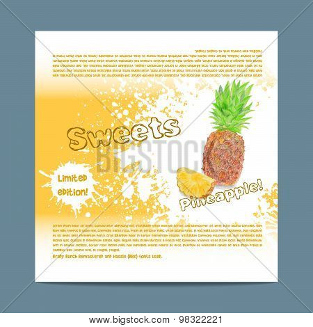 Template candy packaging. Pineapple sweets.