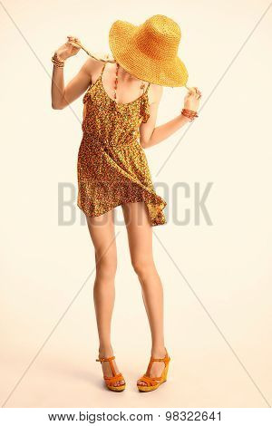 Beauty playful boho slim model woman having fun, copyspace