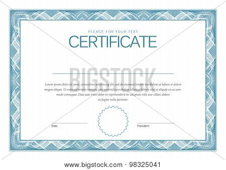 Certificate. Award background. Gift voucher. Template diplomas currency Vector illustration poster