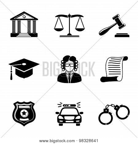 Law, justice monochrome icons set.