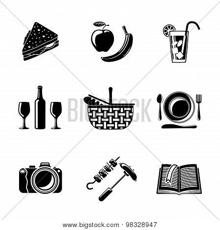 Set of monochrome picnic icons - basket, plate, spoon, sandwich, photo camera, wine, glass with cock