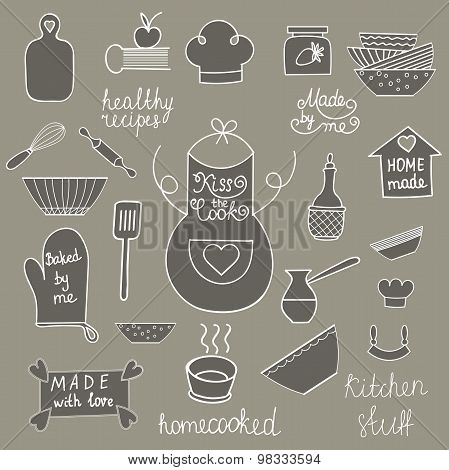 Hand drawn kitchen tools set Kitchen utensils isolated Kitchen equipment collection Kitchen doodles