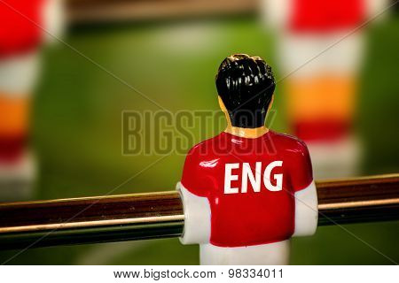 England National Jersey On Vintage Foosball, Table Soccer Game