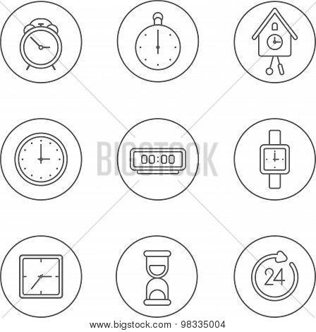 Linear flat clock icons