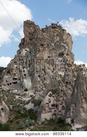 view of Uchisar castle in Cappadocia Turkey