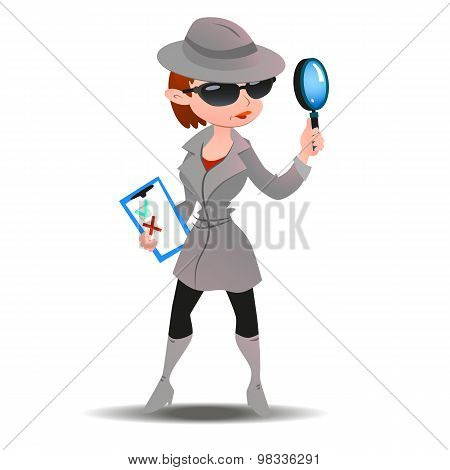 Mystery shopper woman in spy coat, boots, sunglasses and hat with magnifier and checklist. Full-length vector. poster