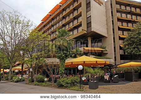 Hotel And Outdoor Cafe On Promenade Of Montreux, Switzerland.