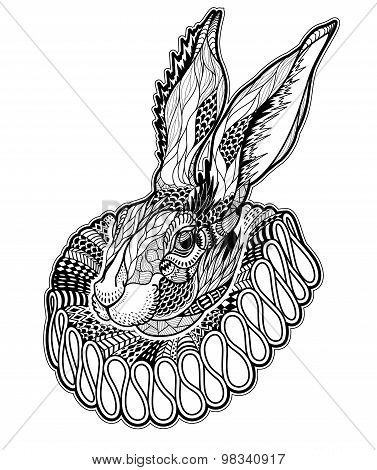 Tattoo with Rabbit in a jabot. vector illustration