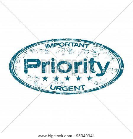 Priority grunge rubber stamp