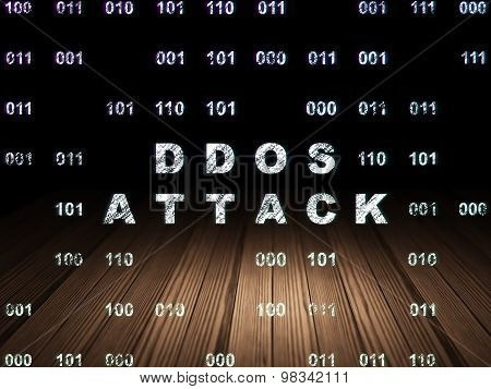 Privacy concept: DDOS Attack in grunge dark room