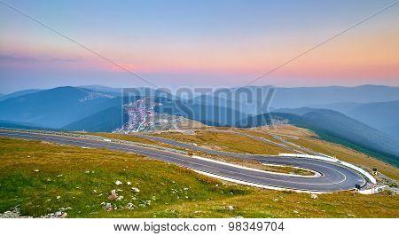 Sunset On Mountain Winding Road