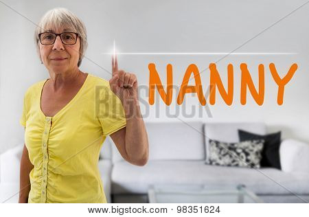 Nanny Touchscreen Is Shown By Senior