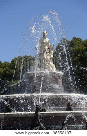 Statue Of Latona Fountain At Herrenchiemsee, Bavaria