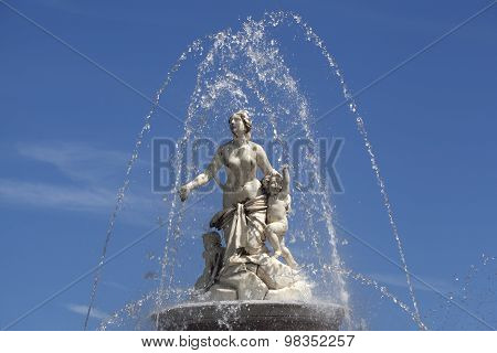 Closeup Of Statue Latona Fountain At Herrenchiemsee, Bavaria