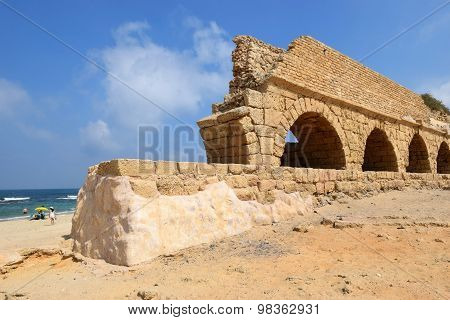 Ancient Roman Aqueduct At Ceasarea, Israel