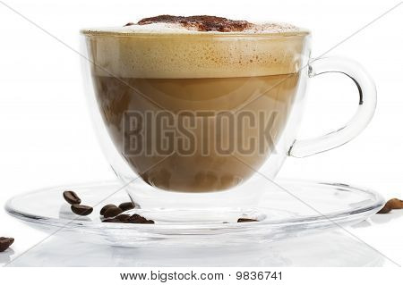 cappuccino with chocolate powder on white background