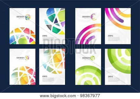 Vector globe brochure template set. Abstract arrow design and creative magazine idea, blank, book co