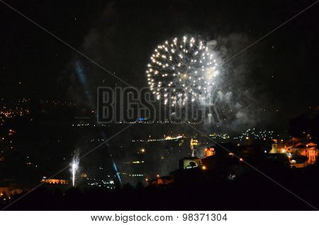 Fireworks over the city of Porto