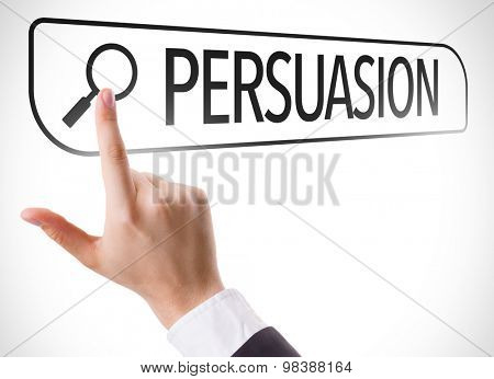 Persuasion written in search bar on virtual screen