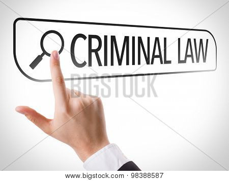 Criminal Law written in search bar on virtual screen